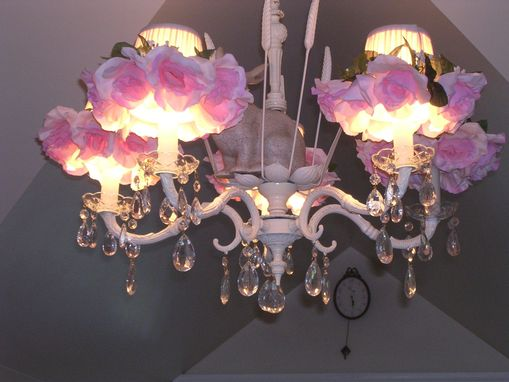 Custom Made Custom Ordered 6 Light Bunny, Rose And Crystal Chandelier