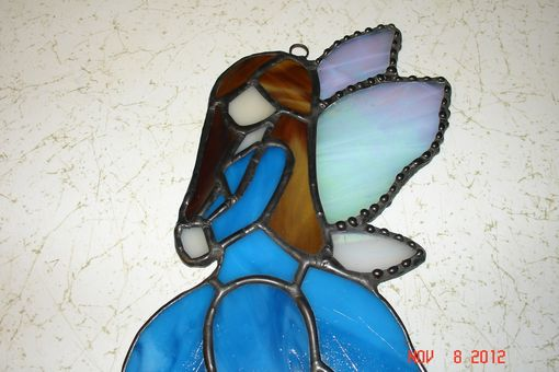 Custom Made Stained Glass Fairy / Angels With Flower Dress In Cobalt Blue With Blown Hair