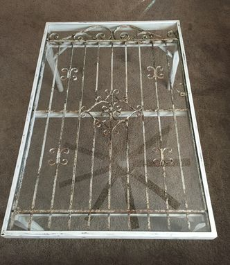 Custom Made Coffee Table,Reclaimed,Repurposed Gate,Glass Table,Living Room,Office