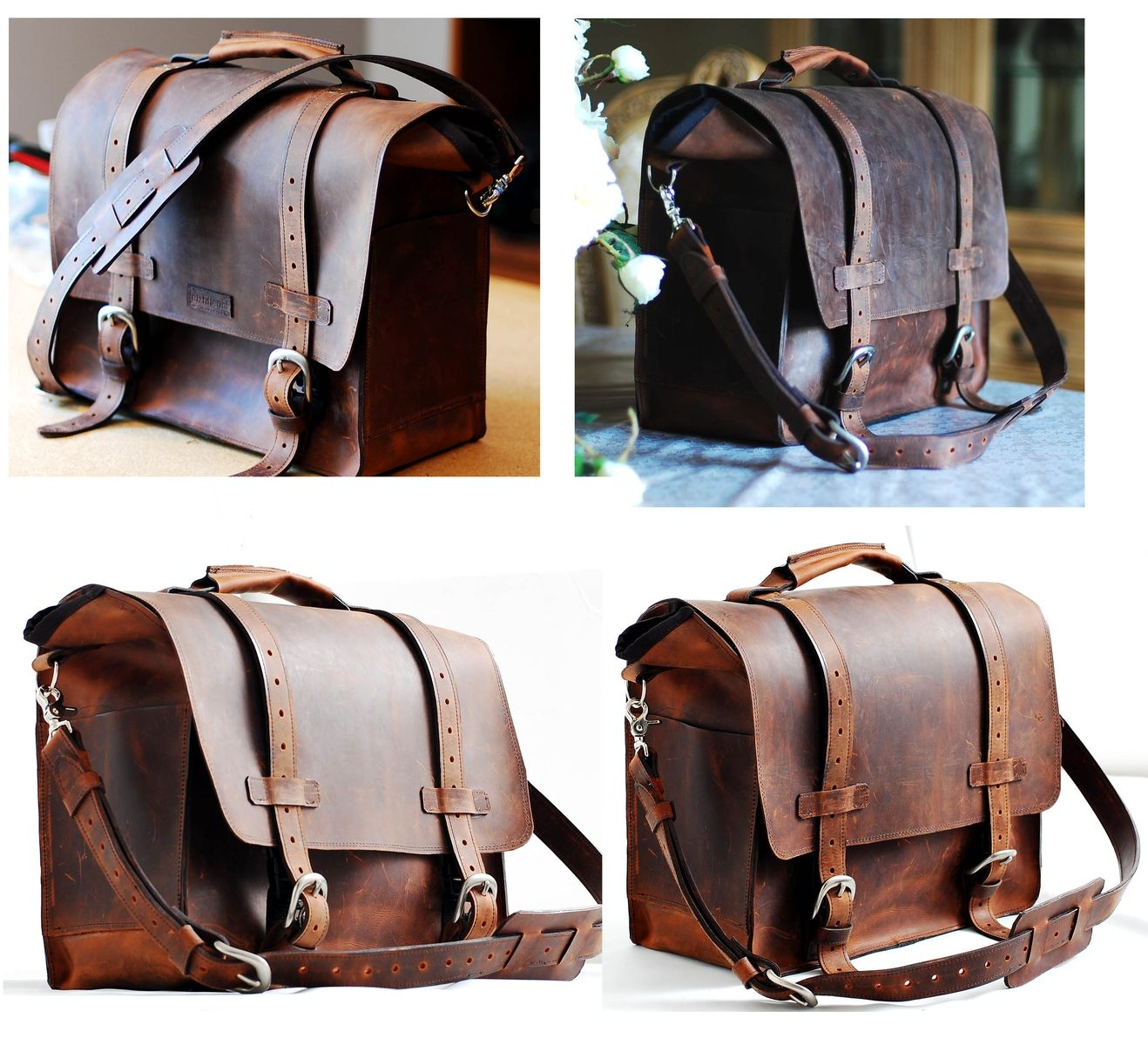 Custom Made Leather Briefcase Laptop Book Tote