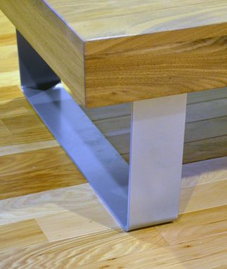 Custom Made Modern Solid Walnut And Powder Coated Bent Steel Coffee Table