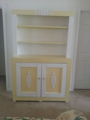 Custom Made Custom Built Wicker Ware Yellow Cottage Storage Cabinet