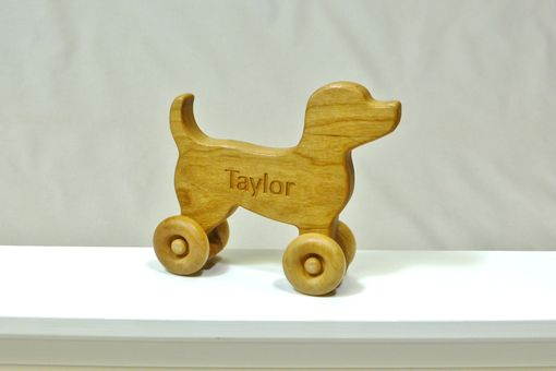 Custom Made Wooden Toy Dog - Customized With Name