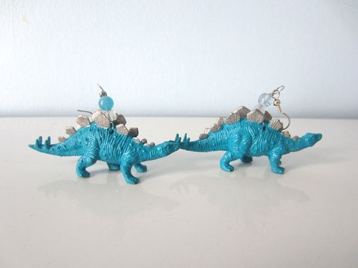 Custom Made Upcycled Earrings Made From Toy Dinosaurs - Blue Stegosaurus With Silver Points