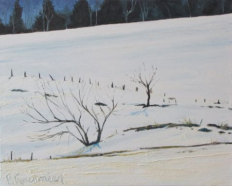 "Custom Made Original Landscape Oil Painting "" Across A Snowy Field """