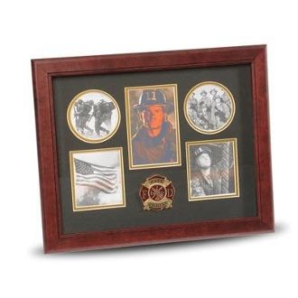 Custom Made 5 Picture Collage Frame Firefighter Medallion