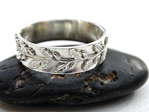 Meval Wedding Ring Silver Fairy Tale Band Pagan Oak Leaf