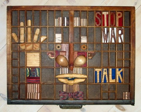 Custom Made Sculpture - Stop War - Talk In Wood