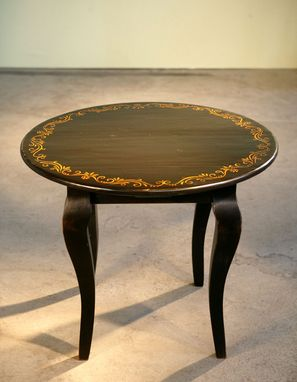 Custom Made Round End Table With Hand Painted Design And French Legs