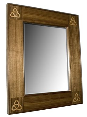 Custom Made Celtic Walnut Mirror With Trinty Inlay