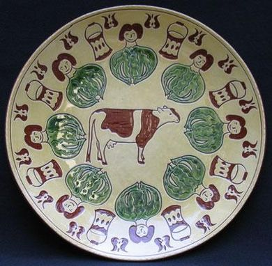 "Custom Made ""Eight Maids-A-Milking""  , Ceramic Plate"