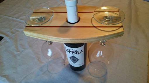 Custom Made Wine Bottle Caddy With Glasses