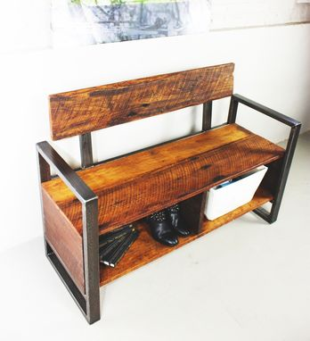 Custom Made Reclaimed Wood Entryway Storage Bench