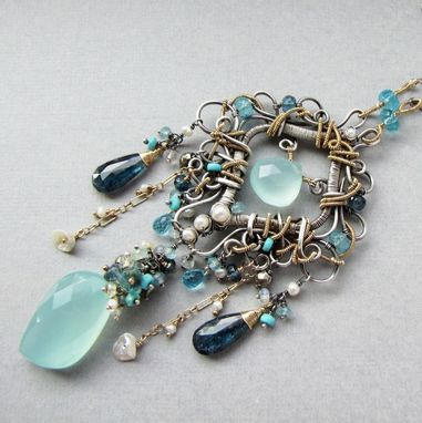 Custom Made Statement Necklace, Sterling Silver And Gold With Blue Gemstones And Pearls