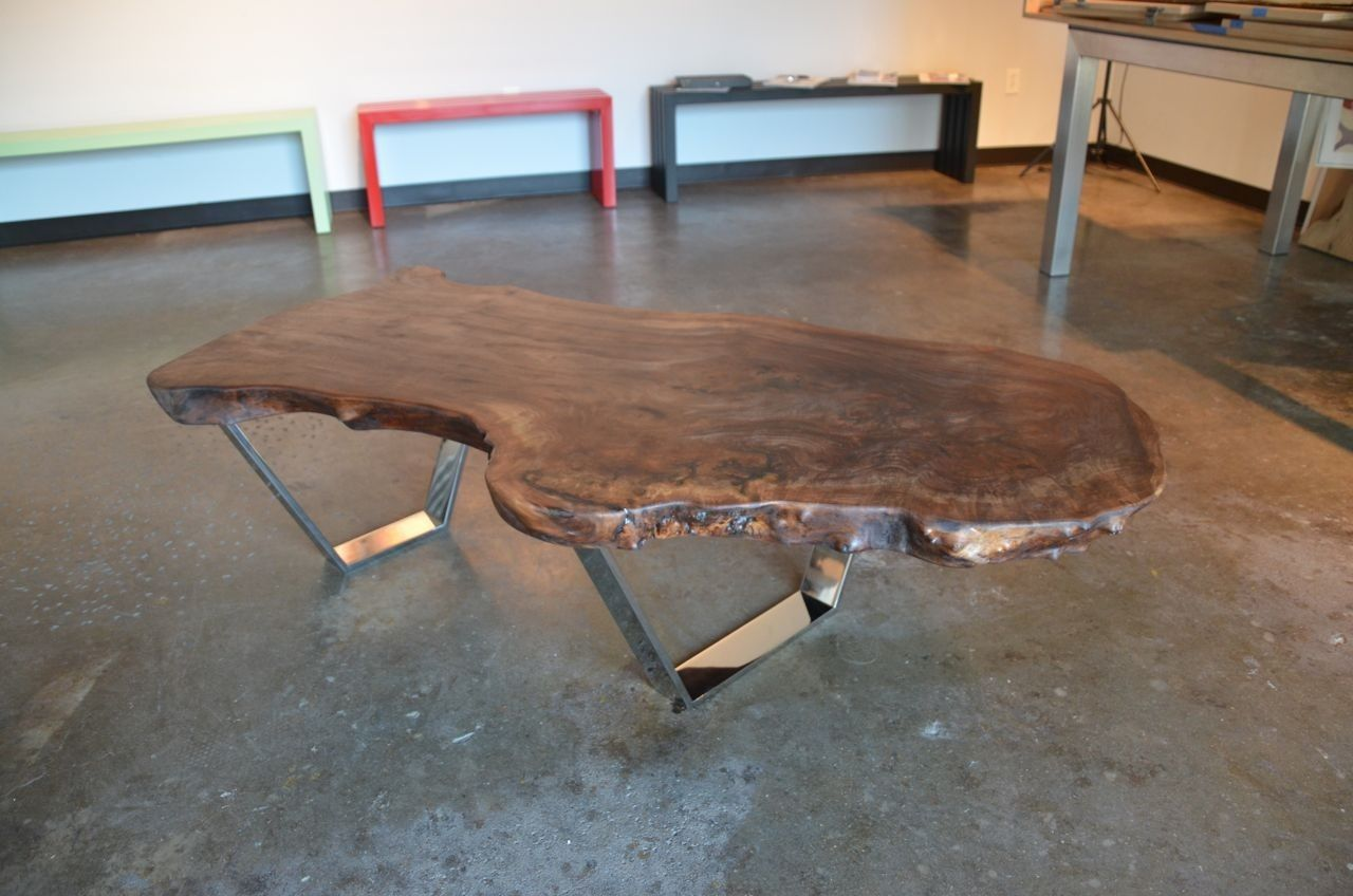 Custom made claro walnut slab coffee table by sarabi for Oak slab coffee table
