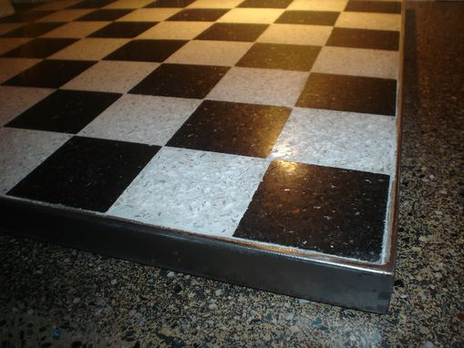 Custom Made Black Granite And White Concrete Squared Chess Board