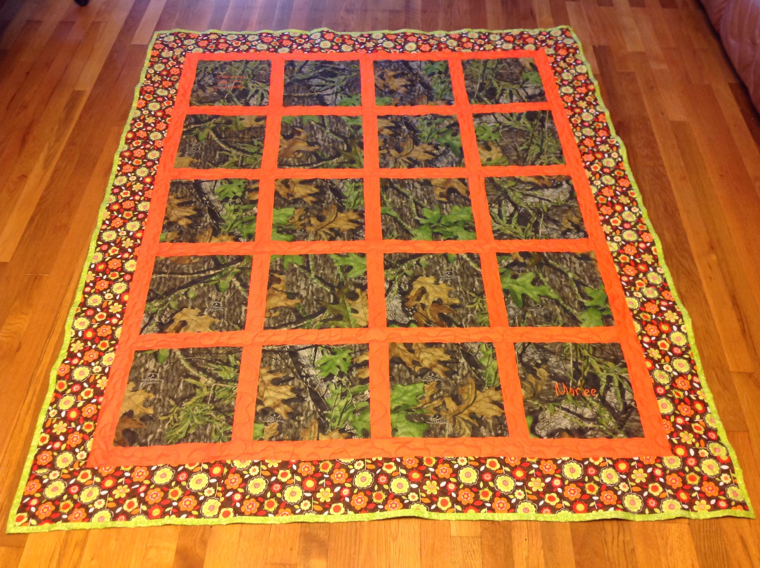 Hand crafted custom camo outdoor window pane style scenic for Window pane quilt design