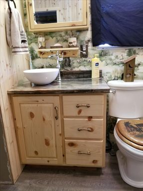 Custom Made Knotty Pine Bathroom Vanity