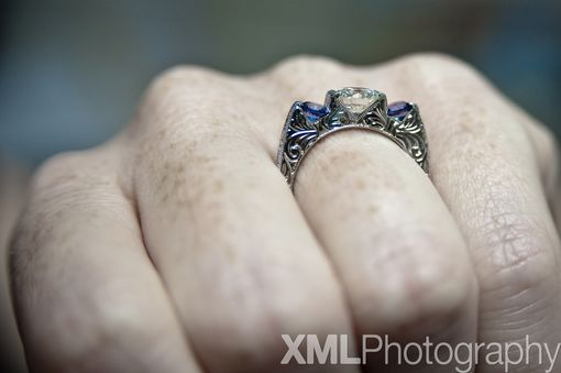 Custom Made Hand Engraved Engagement Ring