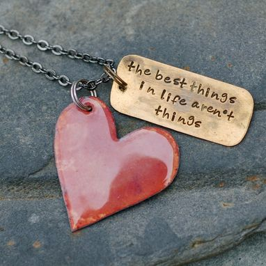 Custom Made Copper Enamel Heart Pendant With Custom Stamped Brass Tag