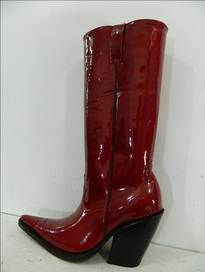 Custom Made Dark Red Patent Leather Extreme Sharp Toe Cowboy Boots 4¨Heels Made To Order Woman And Men Size