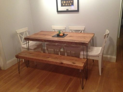 Custom Made Reclaimed Dining Table Bench Combination - Made From Salvaged Barn Wood