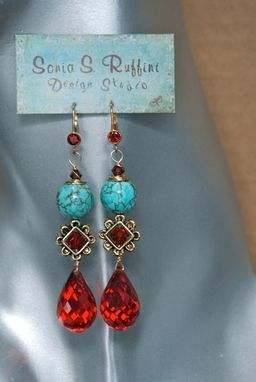 Custom Made Turquoise And Cubic Zirconia Dangling Earrings