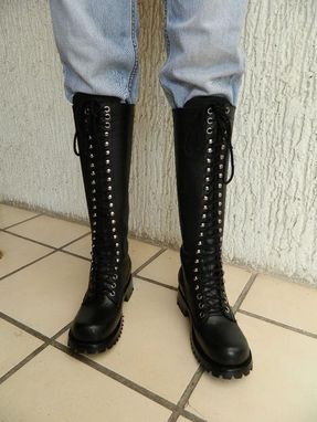 "Custom Made Custom Made To Order Ranger Lace Up Boot 20"" Tall Full Grain Thick Leather"