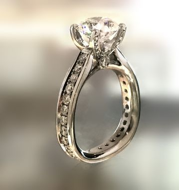 Custom Made Channel Eternity Set Diamond Engagement Ring In Platinum