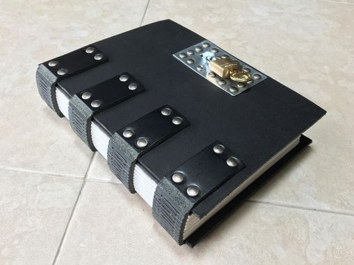 Custom Made Gothic Industrial Steampunk Lockable Black Leather Journal