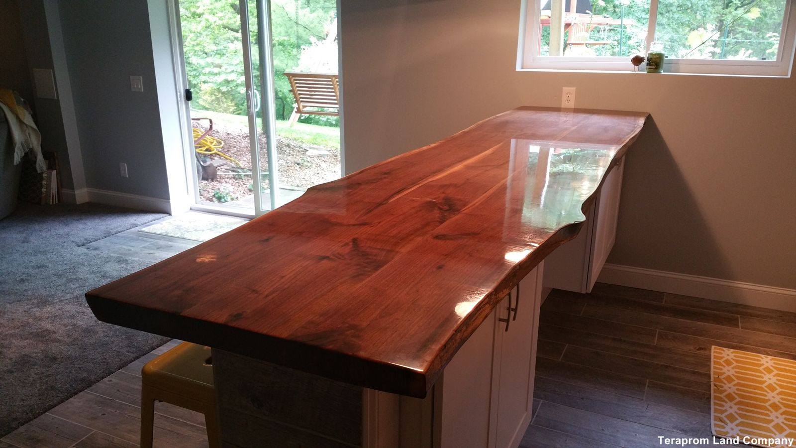 Handmade Custom 11 Foot Long Live Edge Walnut Bar Top By