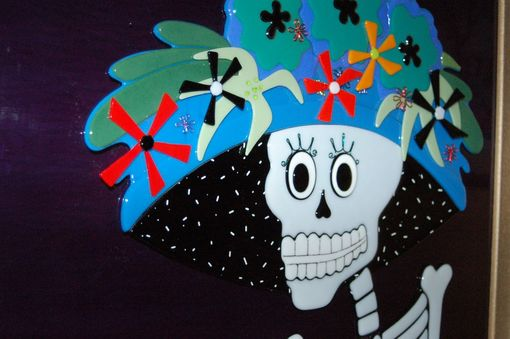 "Custom Made Fused Glass Day Of The Dead Wall Art - ""Catrina"""