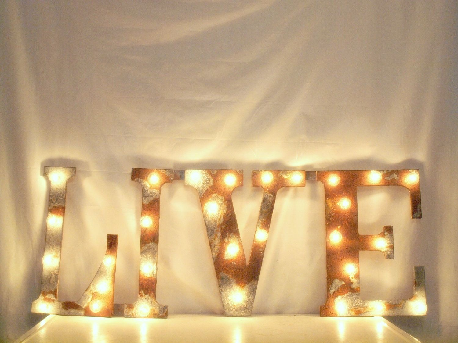 Hand Crafted Letter Wall Hanging Metal Letter Light Fixture 30 ...