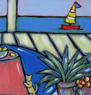 "Custom Made Acrylic Painting On Canvas, Original Still Life, ""Cat At The Beach"" By Brooke Howie Painting"