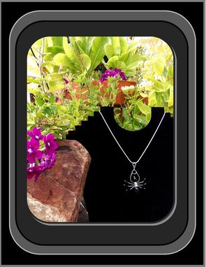 Custom Made Silver,Black,Spider,Pendant,Necklace,Jewelry,Spider Web,Arachnid,Insect,Halloween,Gothic,Custom,Gems,Sterling,Mother Daughter,Friend,Sister