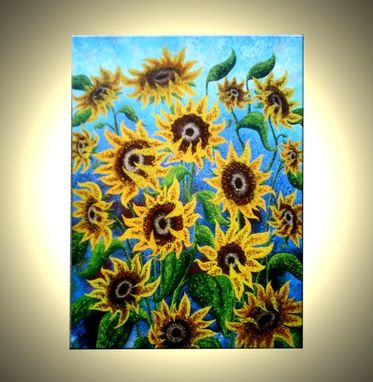 Custom Made Signed Pre-Stretched Giclee Print On Canvas Of Original Yellow Textured Sun Flowers Painting-40x30