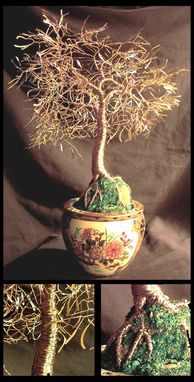 Custom Made Asian Gold Leaves - Wire Tree Sculpture