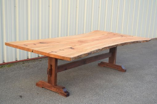 Custom Made Live Edge Sycamore Dining Table With Trestle Base