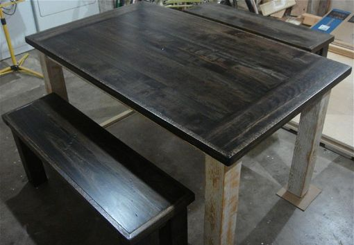 Custom Made Custom Farm House Table W/ Benches