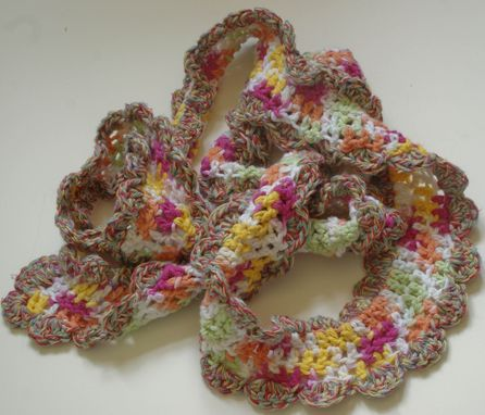 Custom Made Cotton Crochet Long Scarf With Scalloped Edge