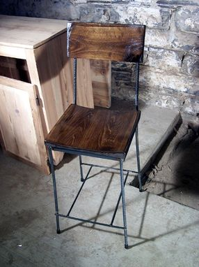 Custom Made Urban Elegance Scooped Seat Rebar And Reclaimed Wood Bar Stools