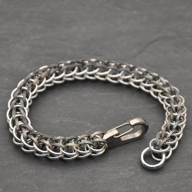 Custom Made Sterling And Titanium Persian Chainmail Bracelet
