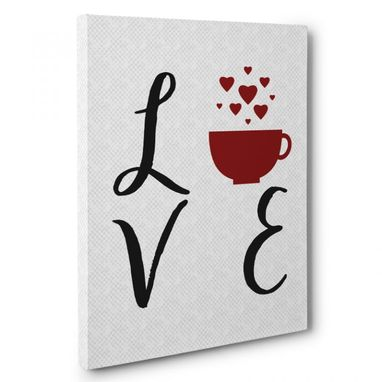 Custom Made Love Coffee Cup Kitchen Canvas Wall Art