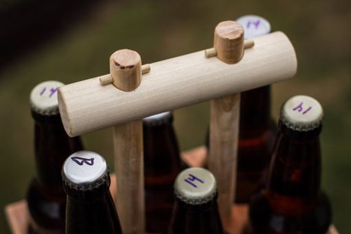 Custom Made Handmade Minimalist 6-Pack Beer Carrier, Two-Tone With Pin Construction