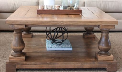 Custom Made Maple Square Turned Legs Coffee Table - Free Shipping To Lower 48 States