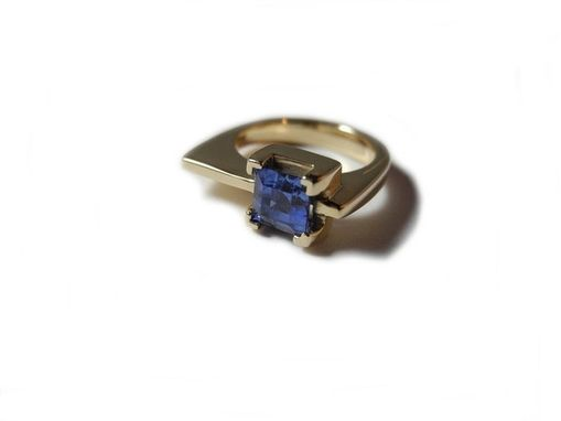 Custom Made Blue Sapphire Ring In Yellow Gold.