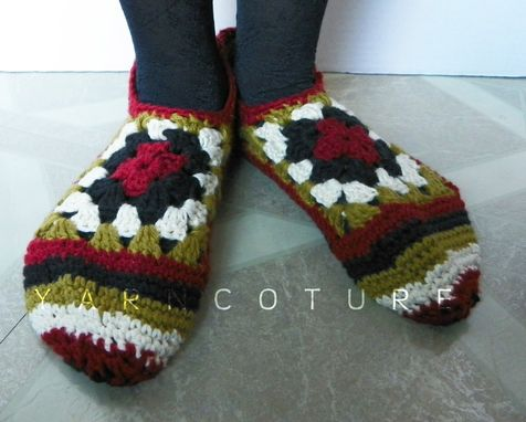 Custom Made Crocheted Granny Square Slippers - Luxuriously Soft - Gift For Her - Ready To Ship - Size M-L