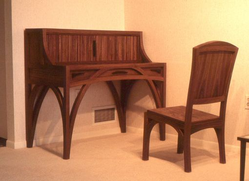 Custom Made Walnut Bentwood Desk With Tambour