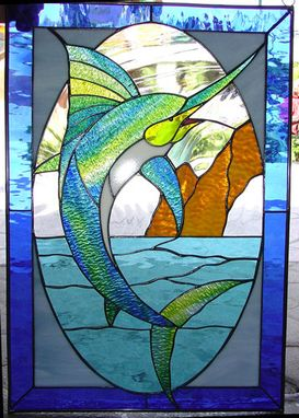 Custom Made Awesome Thrashing Marlin Stained Glass Window #2