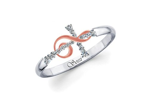 Custom Made Cross And Treble Clef 14k White Gold Diamond Ring 0.23 Ct